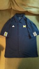 Men's Adidas Large Michigan Button Up, Basketball, Dress Shirt Free Shipping