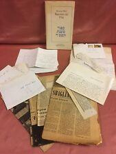 Folkel Ferruccio RACCONTO DEL 5744 lettere dell'A. e ritagli di giornale TRIESTE