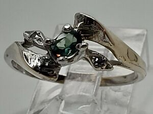 10k White Gold .25ct Natural Alexandrite w/ Accents Color Change Ring Size 6.75