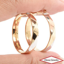 Estate 14K Tri-Tone Gold Elegant Faceted Hollow Hoop Earrings NR