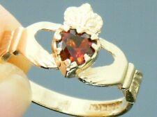 9ct Gold Garnet Hallmarked Claddagh Ring size N
