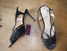 Debut black satin strappy sandal heels w diamante detail - UK 6 BN cost £42.50