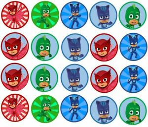 TOP QUALITY  20X PJ MASKS edible Cake decoration cupcake toppers A4 Icing/Wafer
