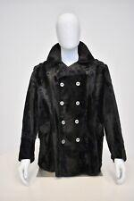 Vintage 1960s Men's Mod Faux Fur Pea Coat