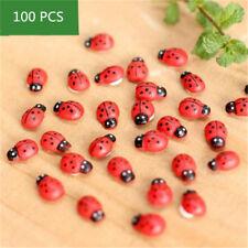 100Pcs Miniature Ladybird Ladybug Garden Ornament Figurine Fairy Dollhouse Decor