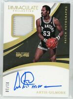 2017-18 Artis Gilmore 1/10 Auto Jersey Panini Immaculate Patch Autographs