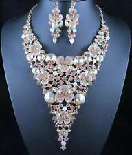 GOLDEN FLORAL AUSTRIAN RHINESTONE NECKLACE EARRINGS SET PAGEANT PROM WED N11901