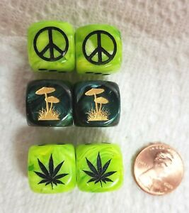 6 Dice - *3* Summer of Love Signs as #1 on *2* Fun Colors - Peace, Pot, 'shrooms