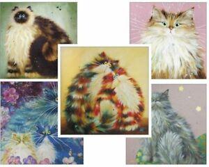 5 Assorted Cat Greeting Cards By Kim Haskins - Birthday - Christmas - kitties