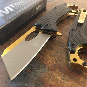 "8"" Spring Assisted Folding Knife Mtech Cleaver Blade Tactical Carabiner Black"