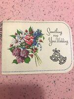 Vintage Wedding Card MCM Wallet Money Pink Purple Blue flowers Bouquet