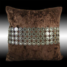 CIRCLES SILVER CHOCOLATE THICK SOFT VELVET THROW PILLOW CASE CUSHION COVER 17""