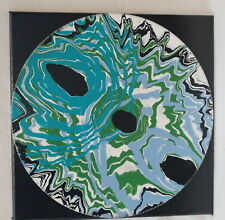 "12"" Lp Mounted Art Acrylic Paint Pour Painting Teal Sky Blue Green Space Dots"