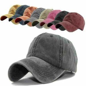 Baseball Cap Vintage Adj Plain Men Women Sport Outdoor Solid Washable Visor Hat