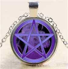Purple Pentagram Cabochon Glass Tibet Silver Chain Pendant Necklace