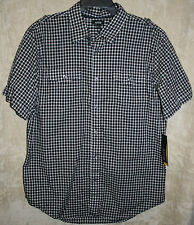 NEW APT. 9 short sleeve Casual shirt Black L 2 Pocket Woven button down Cotton