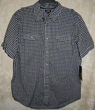NEW APT. 9 short sleeve Casual shirt Black L 2 Pocket Woven button down Cotton