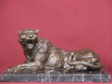 BRONZE SCULPTURE LEOPARD WILD CAT SAFARI STATUE