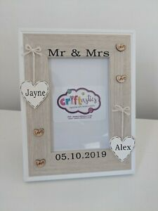 Mr & Mrs personalised photo frame, Mr and Mrs wedding day keepsake picture frame