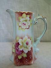 Nippon Rose Porcelain Ewer Pitcher Gold Trim Hand Painted