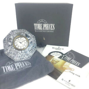 Waterford Crystal Time Pieces Diamond Clock Clear Contemporary Desk Paper Weight