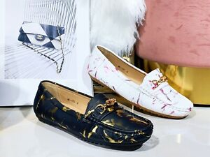 New Womens Ladies Metallic Cushion Comfortable Moccasin Office Work Loafers Shoe