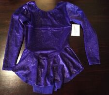 NWT Motionwear Purple Sparkle Ice Skate Skating Dress Girls Large 12/14