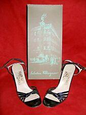 "Salvatore Ferragamo Vintage Black 3"" High Heel Sandals Patent Leather S 5 1/2"