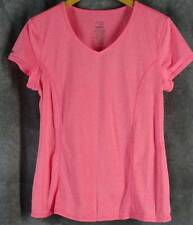 Danskin Large Heather Coral Short Sleeve Knit Shirt Top