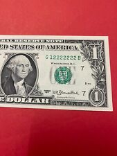 Fancy Serial Number $1 1977 G 12222222 B 7 In A Row Almost Solid .