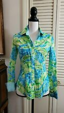 Lilly Pulitzer Long Sleeve Fitted Shirt Blouse Women's Size 2 Blue Green cotton