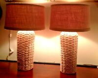 """Pair of Woven Wicker Table Lamps Boho, Beachy, 25"""" Tall with Natural Shades EUC"""