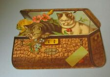 "Chas. H. Hihn Tea Company Kittens in Trunk 8"" Victorian Trade Card Baltimore MD"