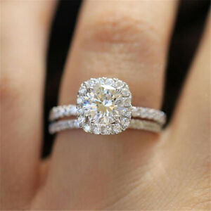 1ct Round Womens Unique 925 Silver Band White Sapphire Wedding Ring Sets Sz 5-12
