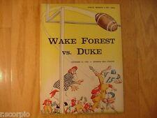 1960 Original Duke Blue Devils vs. Wake Forest Demon Deacons Vintage FB Program