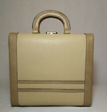 1970s Vintage Light Tan Vanity  Astor Safe Make-up Hair Salon Case Handbag