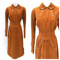 Vintage VTG 1950s 1960s Oleg Cassini Brown Corduroy Wiggle Dress