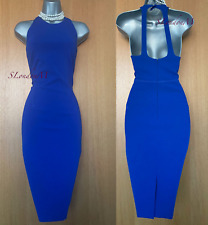 KAREN MILLEN UK 14 Royal Blue Halterneck Low Back Stretch Pencil Dress DV220