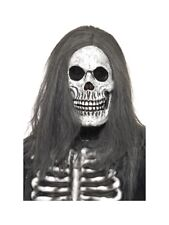 Sinister Skeleton Latex Mask Hair Halloween Adults Mens Fancy Dress Accessory