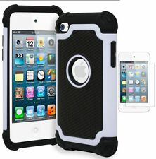 For iPod Touch 4 Bi-component Armor Case • Cream White/Black+Screen Protector