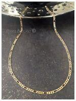 Chaîne Maille Figaro 50cm X 4,7MM En Plaqué Or 18 carats NEUF Bijoux Homme