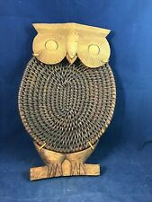 Rare Wooden Wicker Owl - Wall Hang and or Serving Tray
