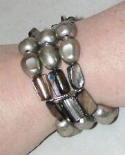 "Beaded Bracelet SILVERTONE Handmade Tribal OA Pow Wow  Fits 6"" to 7.5""  BR8"