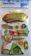 Camping Take A Hike Tent Camper Roasting Marshmallows  Paper House 3D Stickers