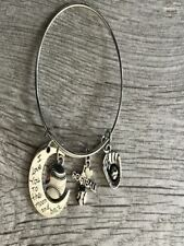 Softball Love You to Moon and Back Charm Bangle Bracelet, Softball Jewelry