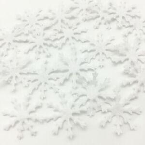100 WHITE CHRISTMAS SNOWFLAKE  FELT - FLATBACK - CRAFT - CARDMAKING - XMAS CARD