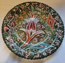 TRADITIONAL TURKISH 41.CM CERAMIC FLOWER CHARGER HANDMADE & PAINTED GOOD COND.