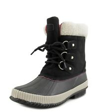 55d8230286c9 Tommy Hilfiger Womens Ebonie Snow Duck Boots Size 8 Black Round Toe Lace Up