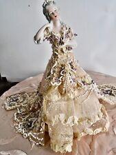 Opulent German Porcelain Half Doll Dressed Lavish 1920 Bead Lace Crystal Fabric