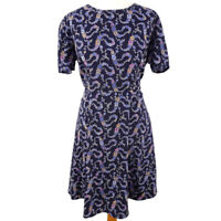 Poem Oliver Bonas Size 14 Blue Floral Round Neck Short Sleeve Fit Flare Dress